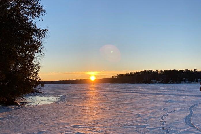 Frozen lake sunset