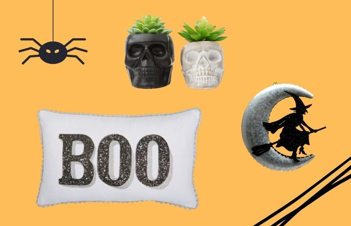 faux skull succulents, boo throw pillow, and witch and moon wall decoration