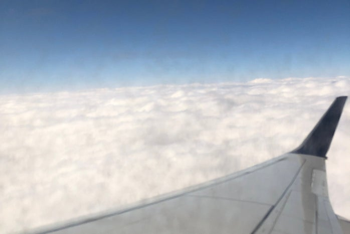 View of clouds from plane