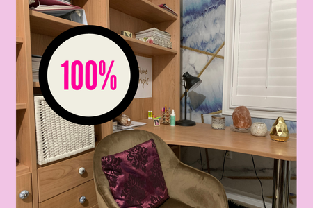"""At-home study space with an icon that reads """"100%"""""""