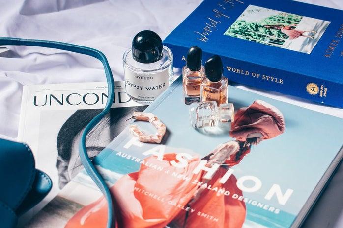 perfume bottles on magazine