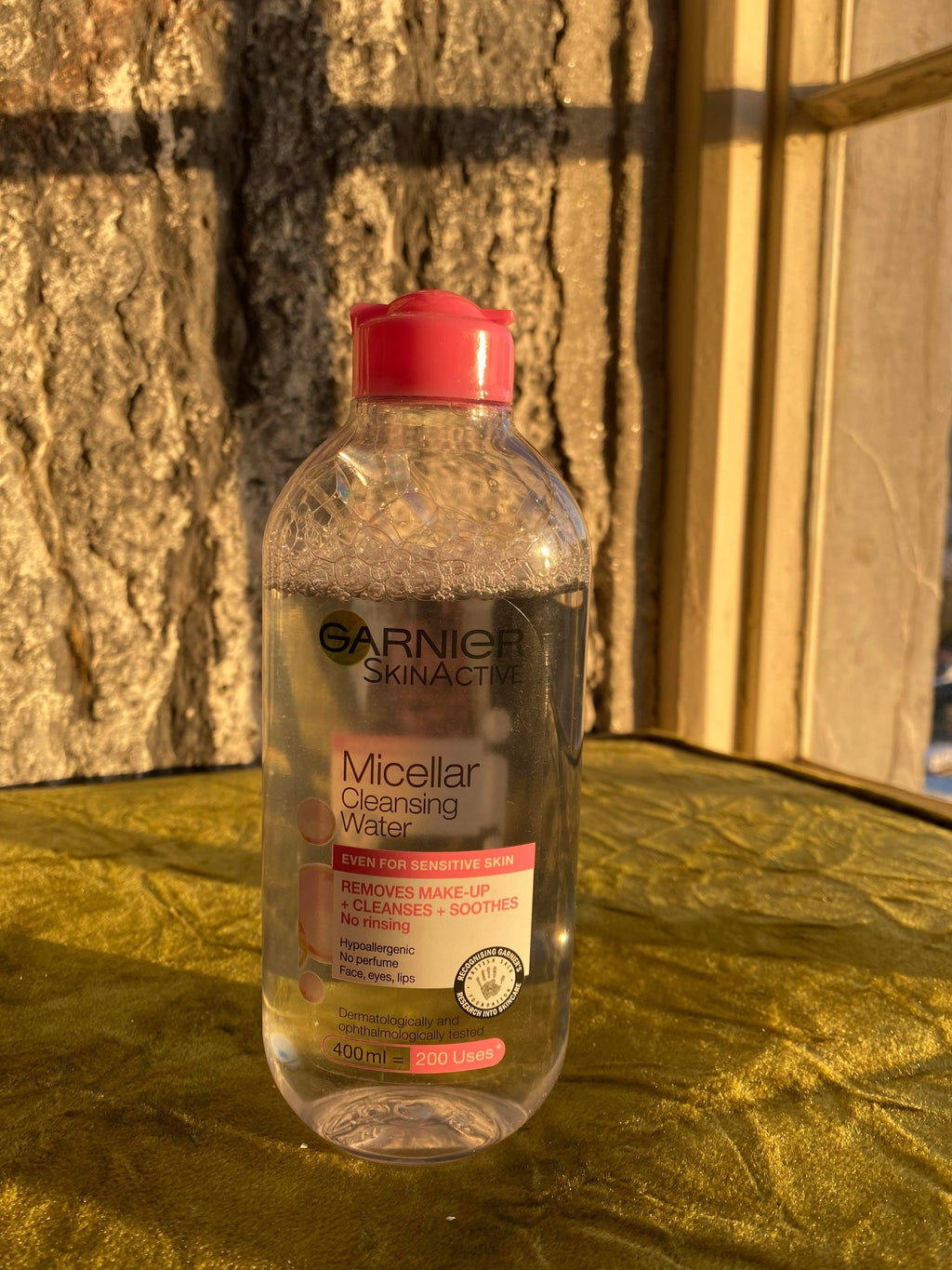 bottle of micellar water for skincare