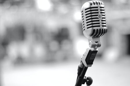 black and white photo with microphone