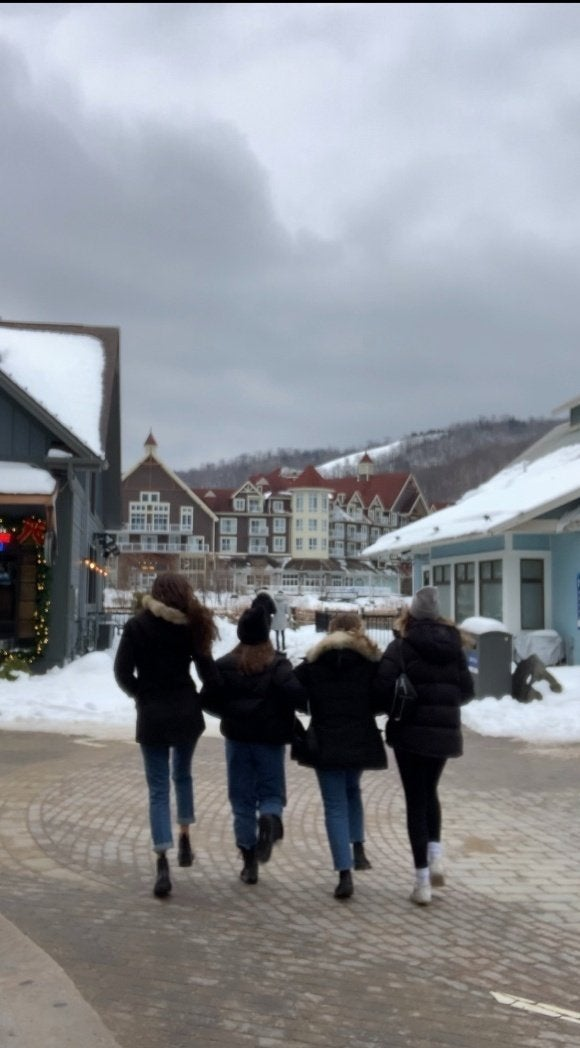 Pictured: Rachel and Shira Alter, Sasha Folgoas and Daphna RoytblatSelf-timer pic of Girls walking, picture taken from the back at Blue Mountain Resort in Ontario