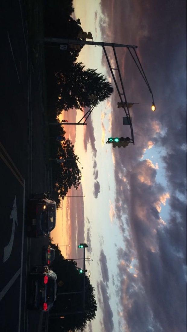 dark sky with traffic light