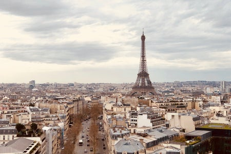 paris eiffel tower and city