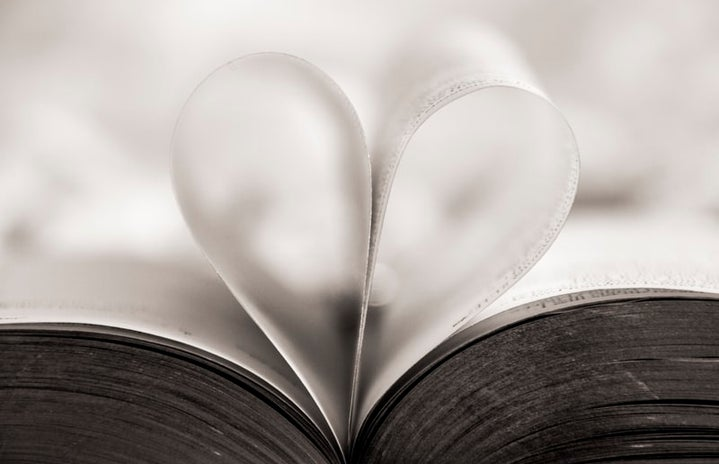 heart shaped page in open book