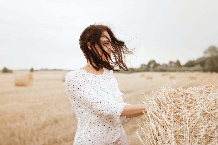 woman alone in field