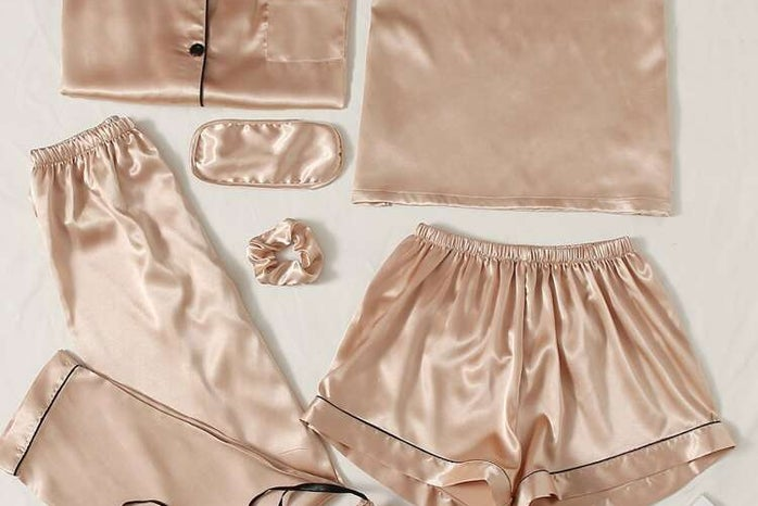 Light pink and black satin pajama set. Short and long style.