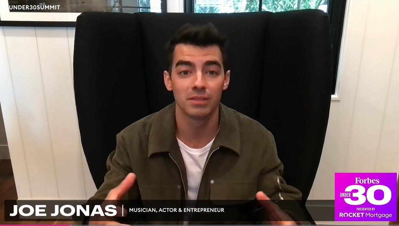 Screenshot of Joe Jonas at Forbes Under 30: Decade of Disruption Summit
