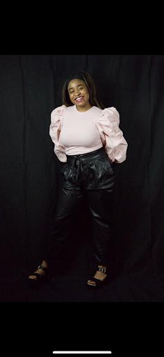 Girl modeling black pants
