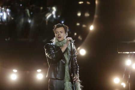 Harry Styles performing at the 2021 Grammy Awards