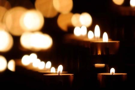 lit candles burning