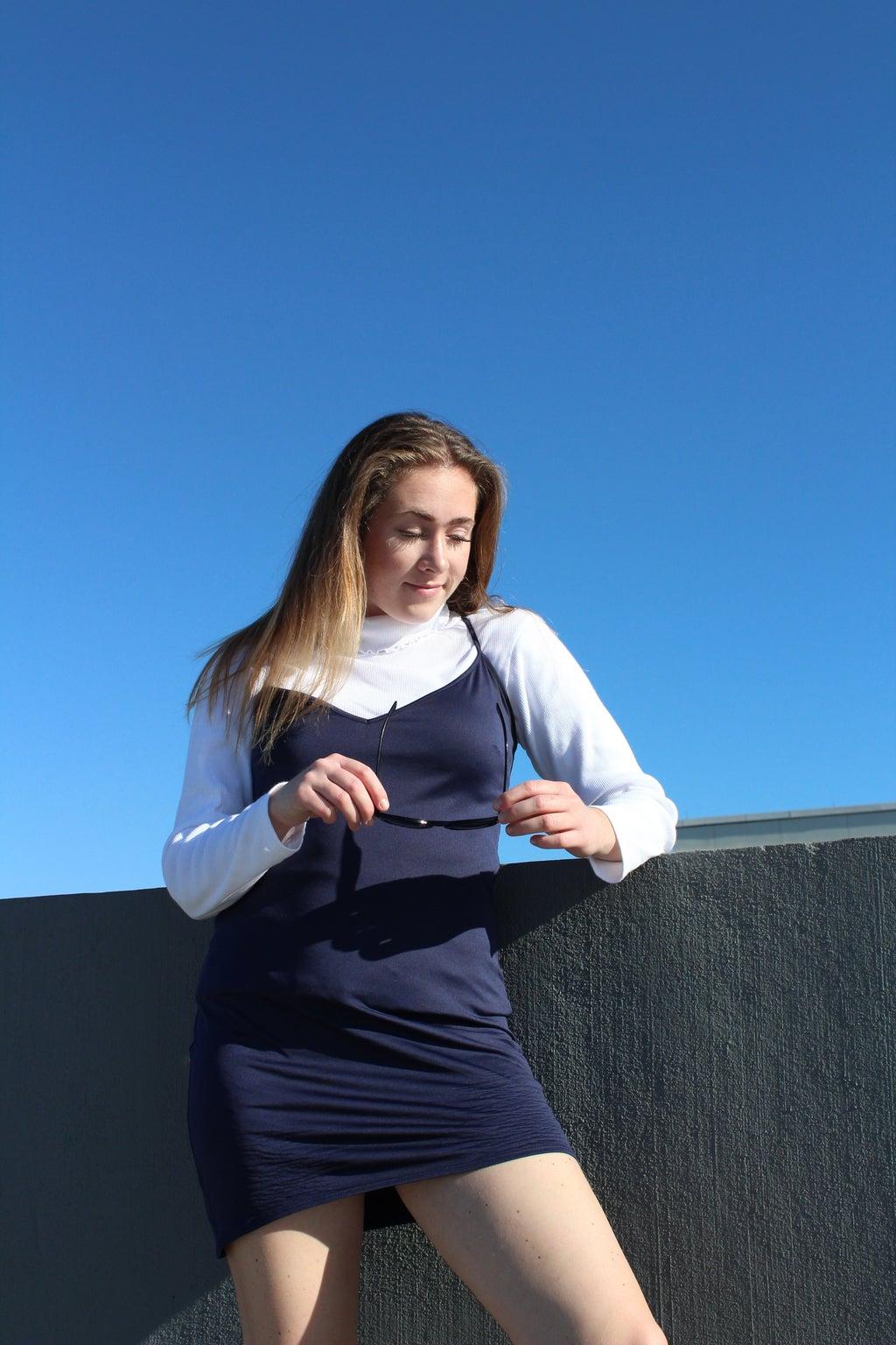 fall thrift outfit silk dress