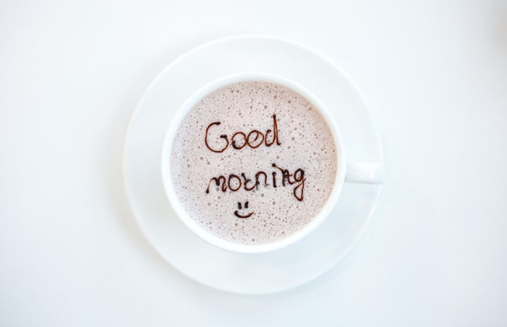 Good morning written in coffee