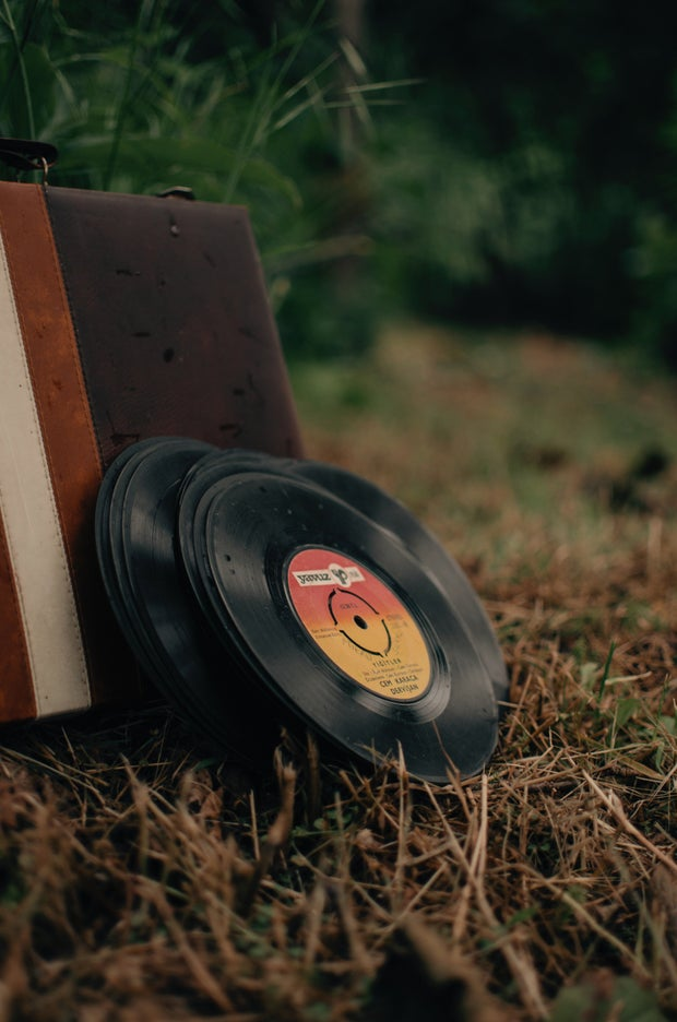 Pile of vintage vinyl discs and aged suitcase on grassy meadow