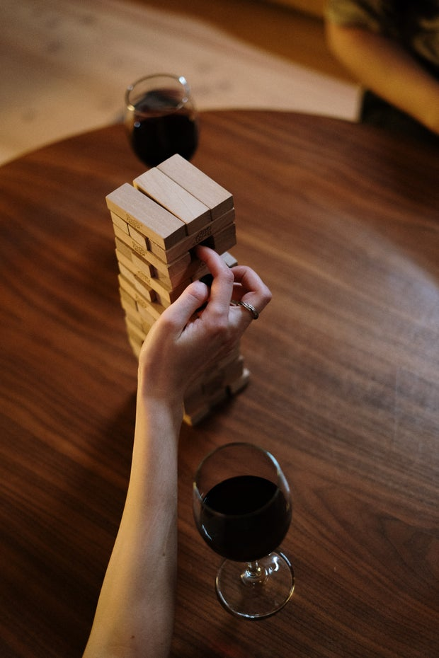 jenga game and wine