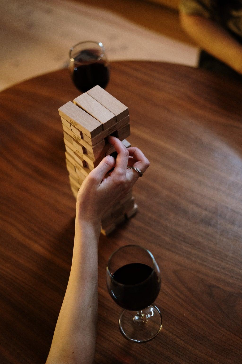 jenga game and wine