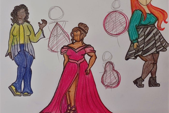 Drawn outfit plans - design sketches, created by our contributor