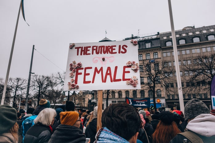"""the """"future is female"""" sign"""