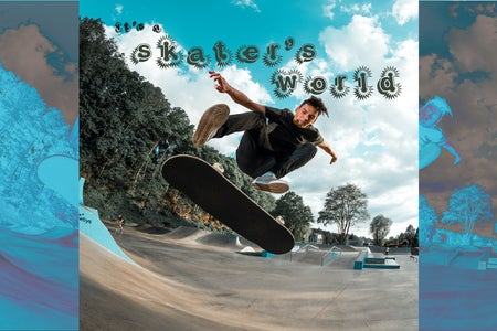 A photo of a skater doing a trick on a skateboard with edits done by myself of fun text and colors.