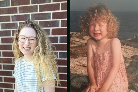 2 images put together to create one--one of me currently with long blond curly hair and one of me when I was 4 with short blond curly hair