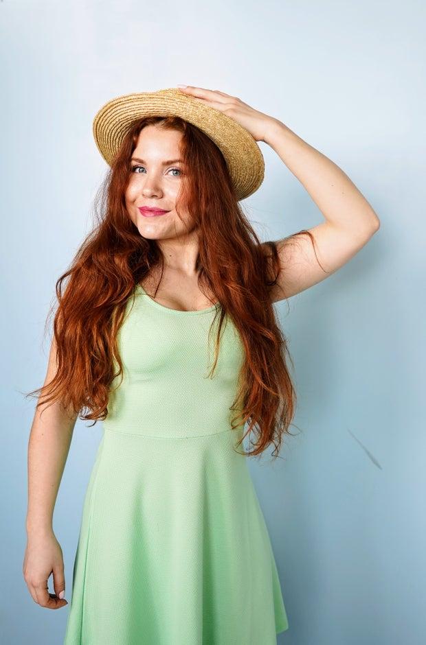 Girl in mint green dress