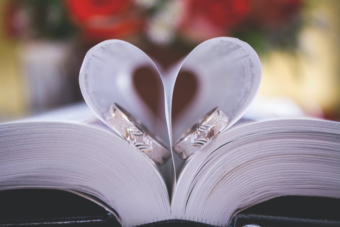 Two rings on opened book