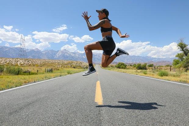 Hannah Rad jumping in the air