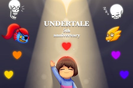 "Young Child with thier hand up, rainbow clored flowers surround them, animals and two human heads float above smiling, the word ""UNDERTALE"" is written in the middle."