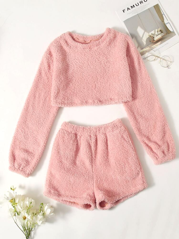 Pink fluffy pajama set