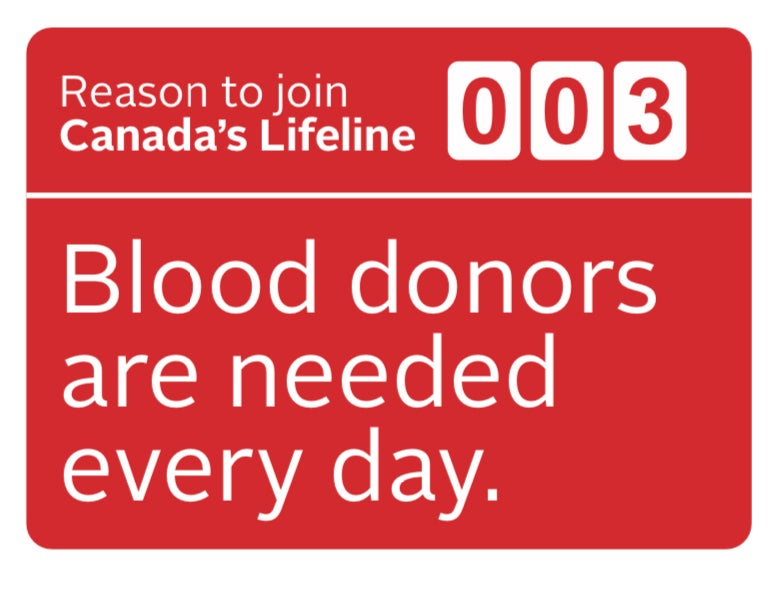 """Reasons to donate blood """"003 blood donors are needed everyday"""""""