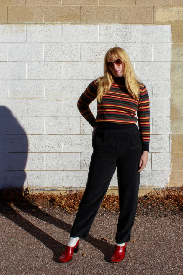 young woman with stripped sweater