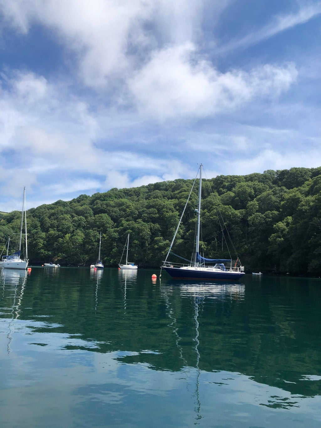 A sailing boat in the sea in Noss Mayo