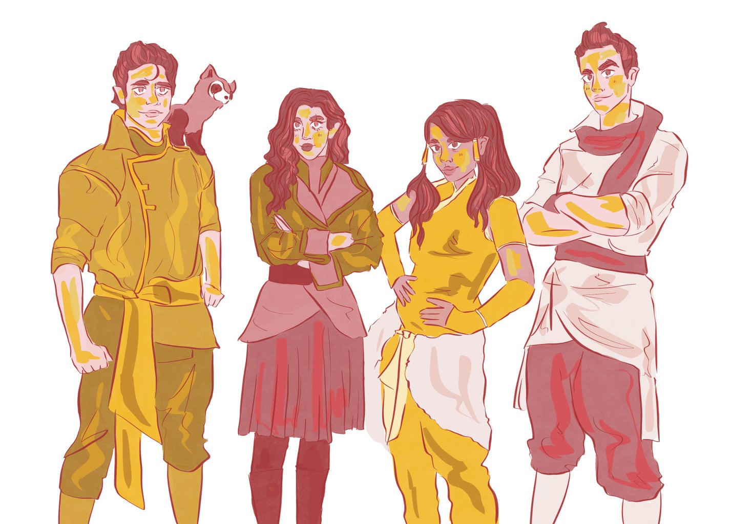 Drawing of the characters from Legend of Korra.