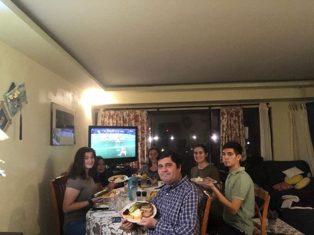 Risso and his family this Thanksgiving eating at their home in Rockville, Maryland.