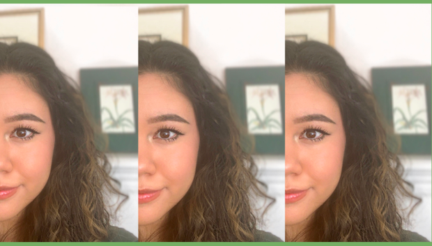 A collage of a woman's selfies with a green border.