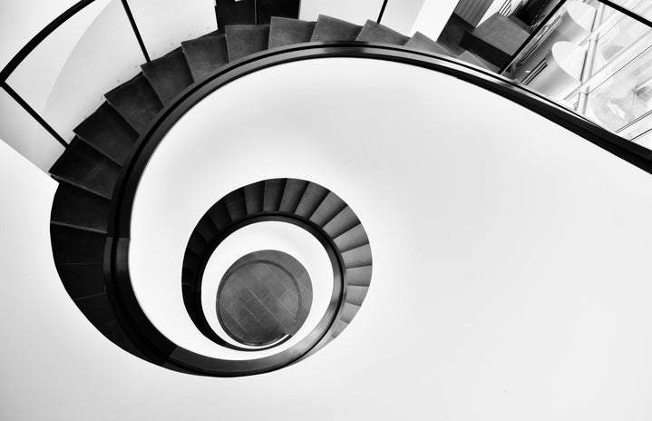 her campus western, black and white spiral staircase