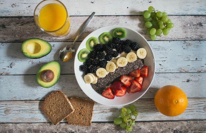 Bowl of chia seed pudding topped with fruit