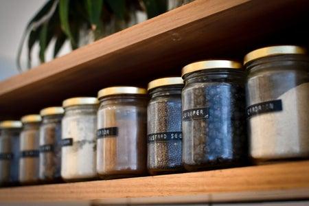 jars of food on a shelf