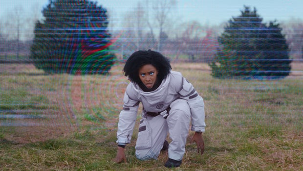 Monica Rambeau from Wandavision kneeling