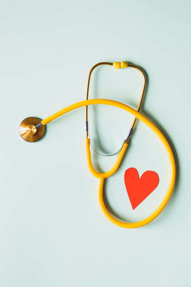 Yellow Stethoscope with red heart