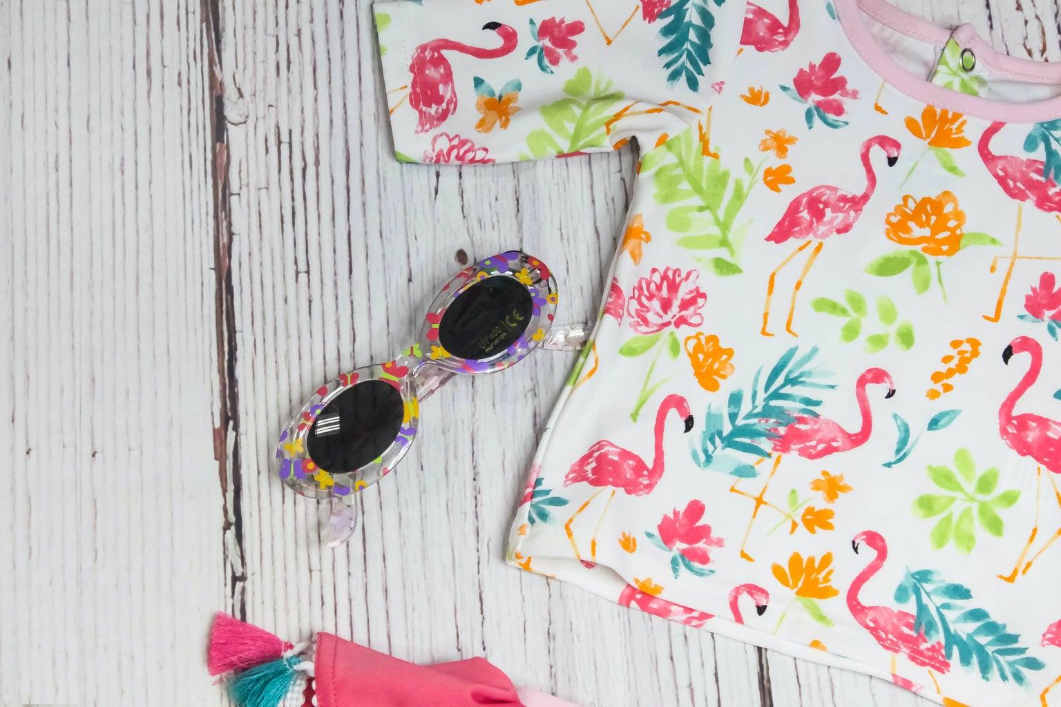 flamingo patterned shirt