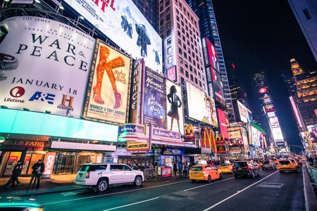 Broadway play posters in Times Square.