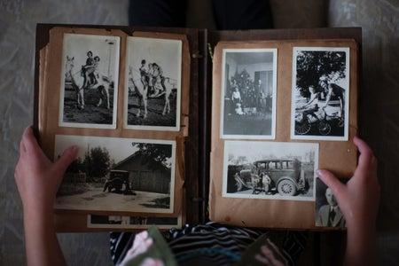 photo album of black and white photographs