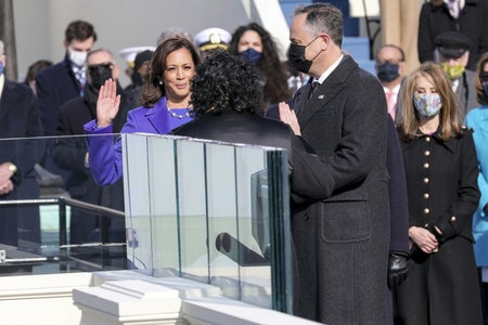 Kamala Harris swearing in as Vice President at the 2021 inauguration
