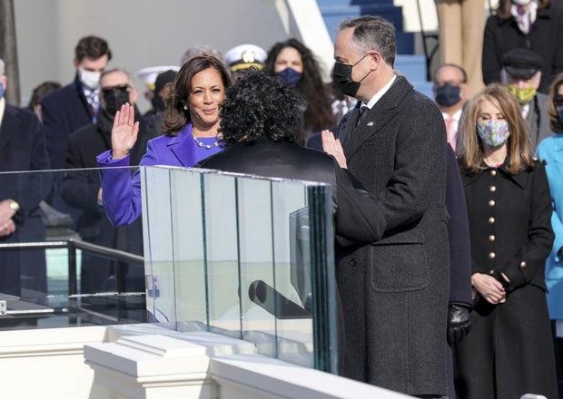 Kamala Harris swearing in as Vice President at the 2021 inauguration