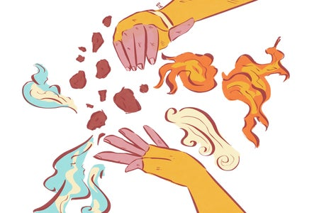 A hand bends the elements of fire, water, earth, and air.