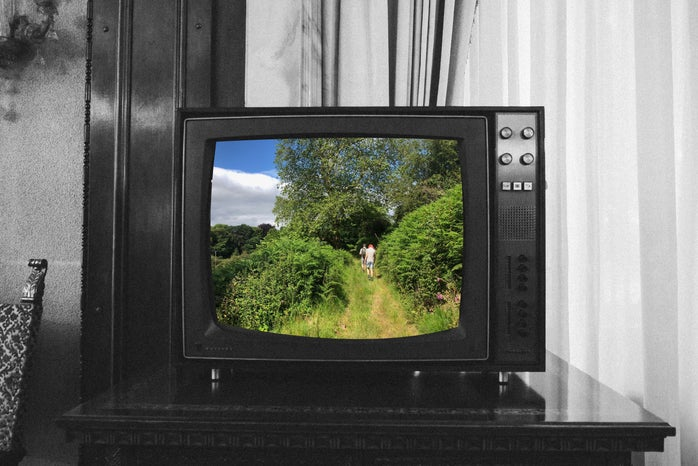 black and white tv with a nature view