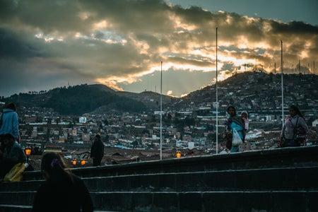 cityscape near a mountain